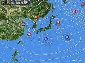 実況天気図(2017年03月29日)