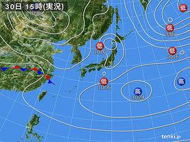 実況天気図(2017年03月30日)