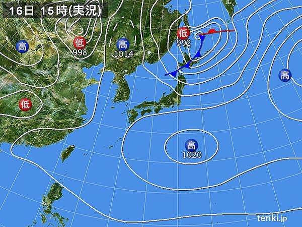 実況天気図(2017年04月16日)