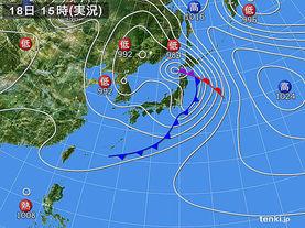 実況天気図(2017年04月18日)