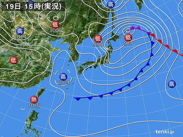 実況天気図(2017年04月19日)