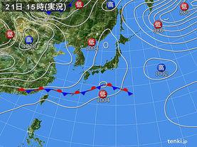 実況天気図(2017年04月21日)