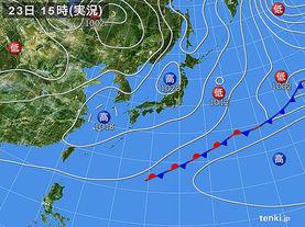 実況天気図(2017年04月23日)