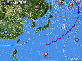 実況天気図(2017年04月28日)