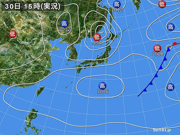 実況天気図(2017年04月30日)