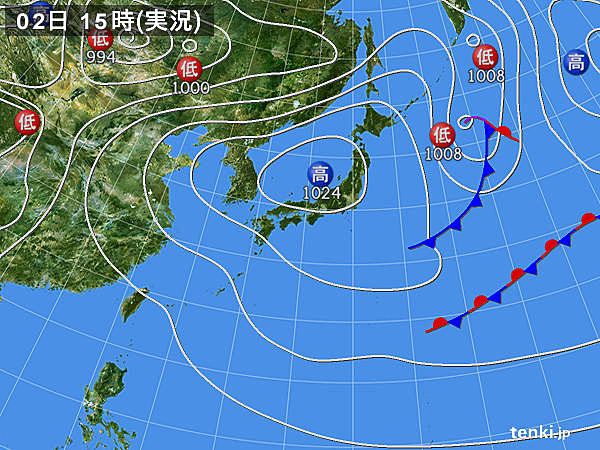 実況天気図(2017年05月02日)