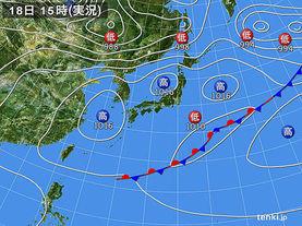 実況天気図(2017年05月18日)