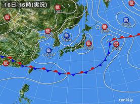 実況天気図(2017年06月16日)