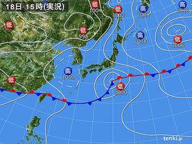実況天気図(2017年06月18日)