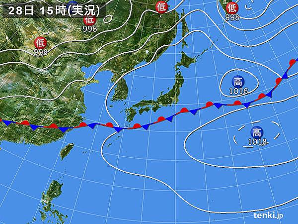 実況天気図(2017年06月28日)