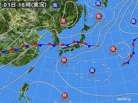 実況天気図(2017年07月01日)