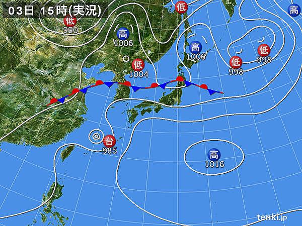 実況天気図(2017年07月03日)