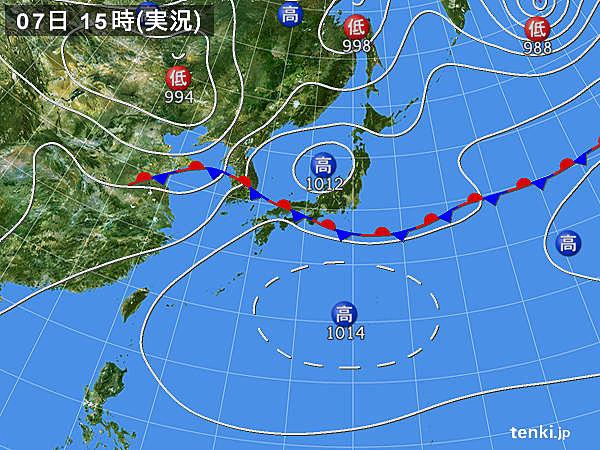 実況天気図(2017年07月07日)