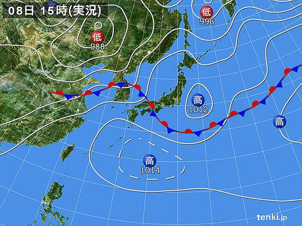 実況天気図(2017年07月08日)