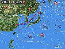 実況天気図(2017年07月11日)