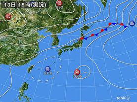 実況天気図(2017年07月13日)