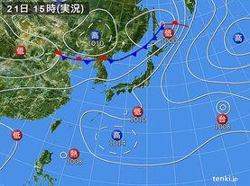 実況天気図(2017年07月21日)