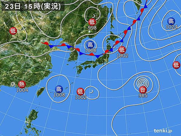 実況天気図(2017年07月23日)