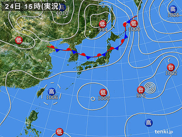 実況天気図(2017年07月24日)