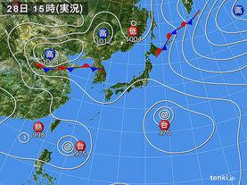 実況天気図(2017年07月28日)