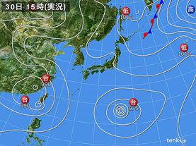 実況天気図(2017年07月30日)