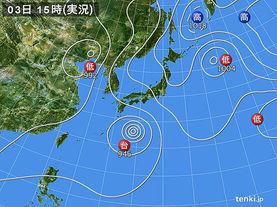 実況天気図(2017年08月03日)