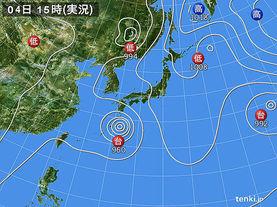 実況天気図(2017年08月04日)