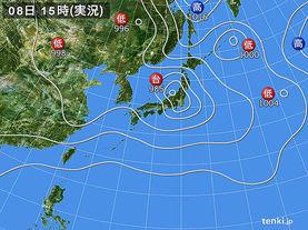 実況天気図(2017年08月08日)