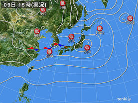 実況天気図(2017年08月09日)