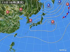 実況天気図(2017年08月11日)