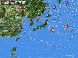 実況天気図(2017年08月12日)