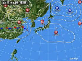 実況天気図(2017年08月13日)