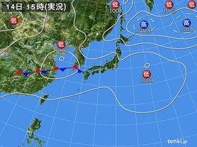実況天気図(2017年08月14日)