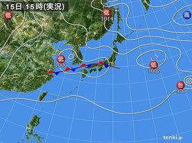 実況天気図(2017年08月15日)