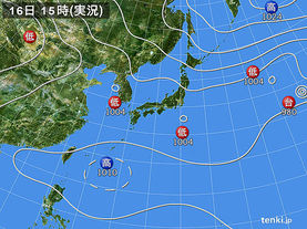 実況天気図(2017年08月16日)