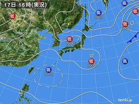 実況天気図(2017年08月17日)
