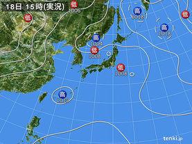 実況天気図(2017年08月18日)