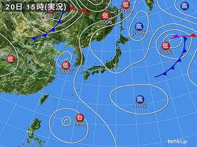 実況天気図(2017年08月20日)