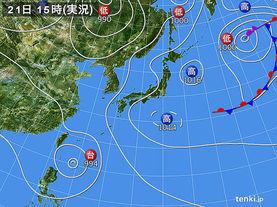 実況天気図(2017年08月21日)