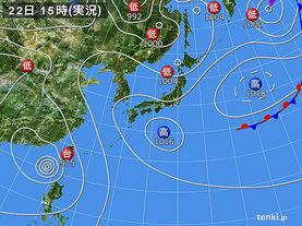 実況天気図(2017年08月22日)