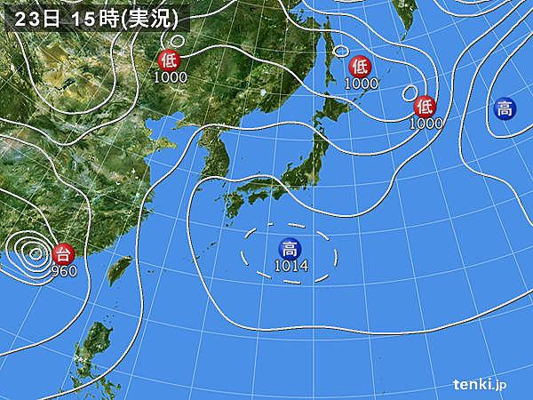 実況天気図(2017年08月23日)