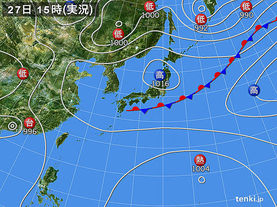 実況天気図(2017年08月27日)