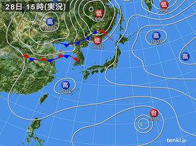 実況天気図(2017年08月28日)