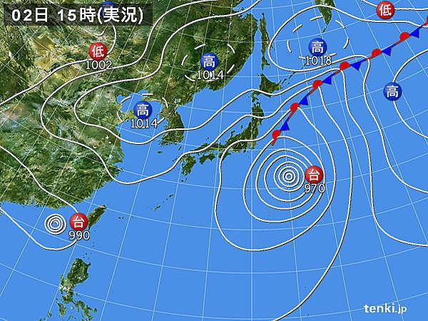 実況天気図(2017年09月02日)