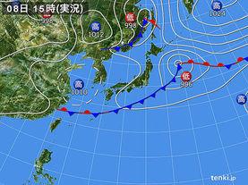 実況天気図(2017年09月08日)