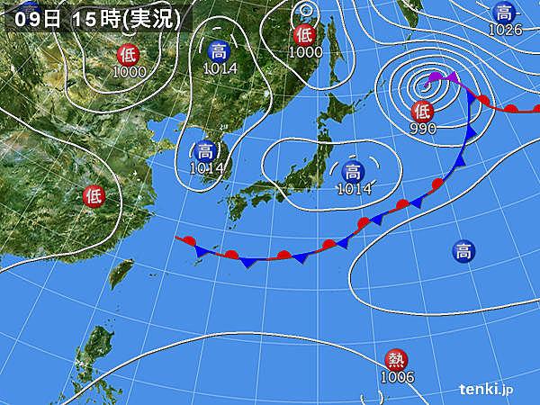 実況天気図(2017年09月09日)