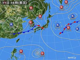 実況天気図(2017年09月11日)
