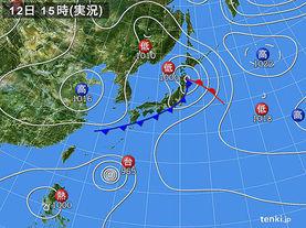 実況天気図(2017年09月12日)