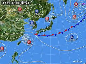 実況天気図(2017年09月14日)