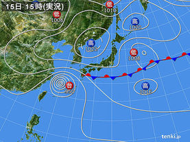 実況天気図(2017年09月15日)